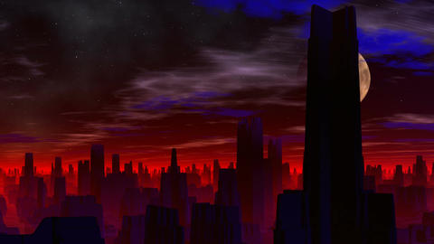 City of aliens. Red luminescence Animation