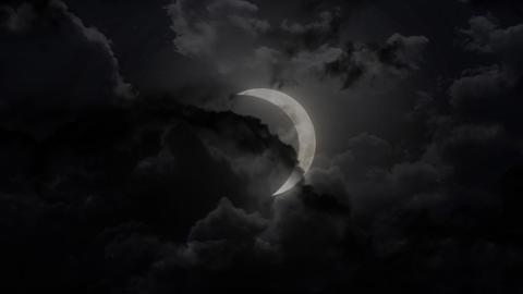 dark large half moon and thunder Stock Video Footage