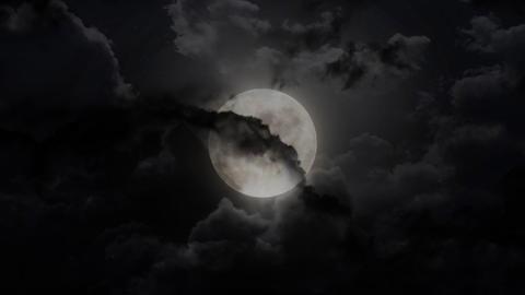 dark large moon and thunder Stock Video Footage