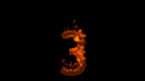 burning numbers 3 burning,flames on black background Stock Video Footage