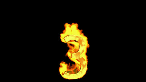 burning numbers 3 burning,fire on black background Stock Video Footage