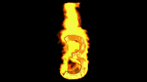 burning numbers 3 burning,fire on black background Animation