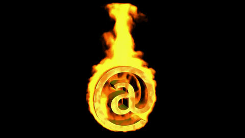 Internet fire symbol,@ mail Animation