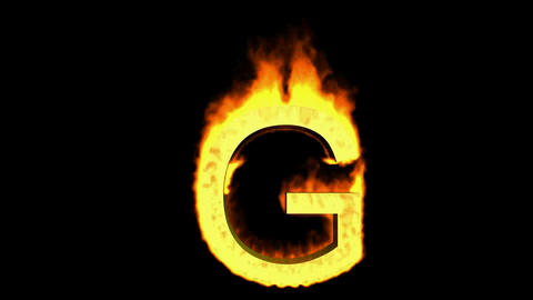 fire letter G,uppercase Animation