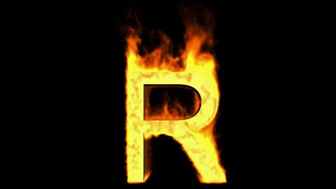 fire letter R Stock Video Footage