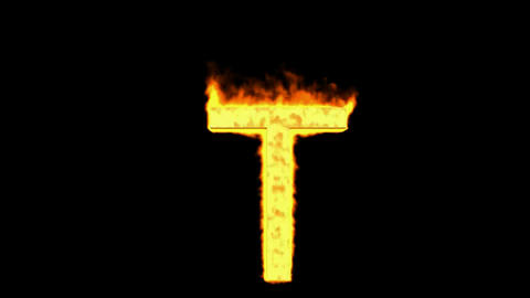 fire letter T Stock Video Footage
