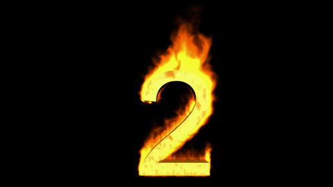 burning numbers 2,flames on black background Stock Video Footage