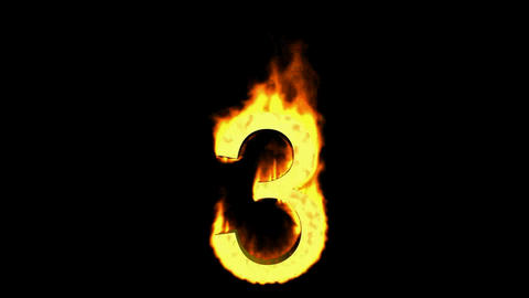 burning numbers 3,flames on black background Stock Video Footage