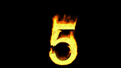 burning numbers 5,flames on black background Stock Video Footage