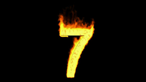 burning numbers 7,flames on black background Animation