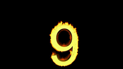 burning numbers 9,flames on black background Stock Video Footage
