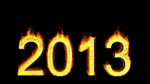 happy new year 2013,numbers 2013 burning with fire on... Stock Video Footage