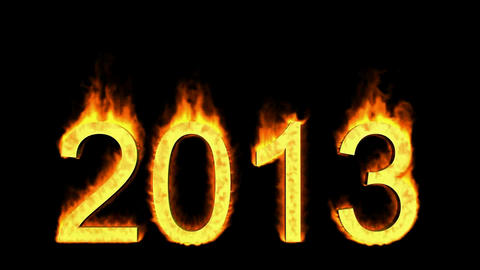 happy new year 2013,numbers 2013 burning with fire on black background Animation