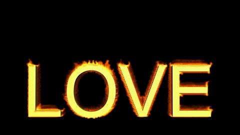 word love in flames Stock Video Footage