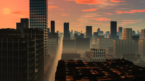 Skyscrapers. Sunrise Animation