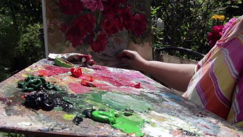 Oil painting on canvas 04 Footage
