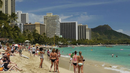 Hawaii Waikiki Beach People Diamond Head stock footage
