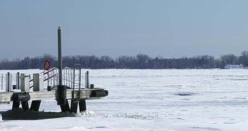 Dock on frozen lake Ontario Footage
