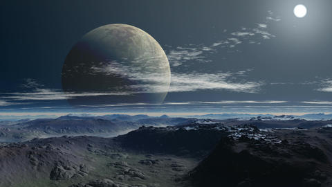 Two moon (planet) Stock Video Footage
