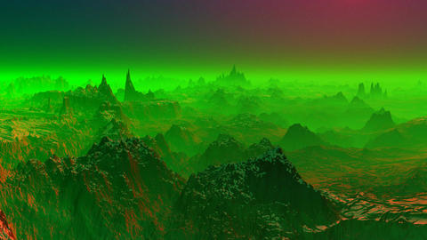 Fantastic planet. Green fog Animation