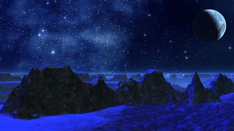 Fantastic planet (dark blue light) Stock Video Footage
