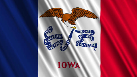 Iowa Flag Loop 01 Stock Video Footage