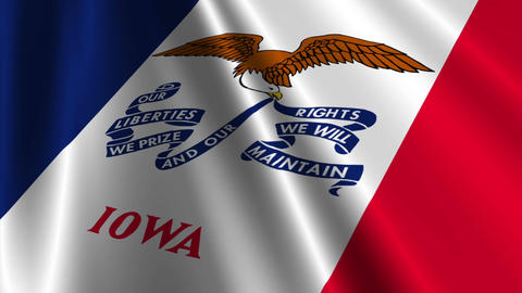 Iowa Flag Loop 03 Stock Video Footage