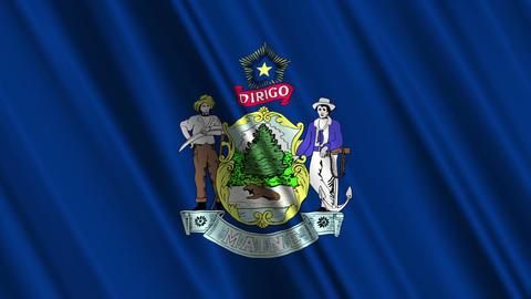 Maine Flag Loop 01 Stock Video Footage
