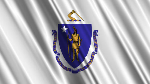 Massachusetts Flag Loop 01 Stock Video Footage