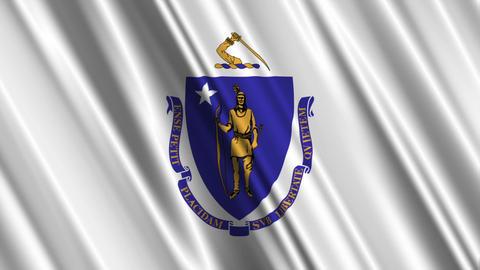 Massachusetts Flag Loop 01 Stock Video Footage
