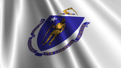 Massachusetts Flag Loop 03 Stock Video Footage