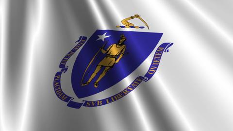 Massachusetts Flag Loop 03 Stock Video Footage