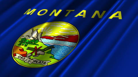 Montana Flag Loop 02 Stock Video Footage