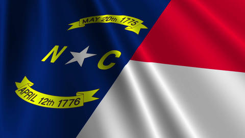 North Carolina Flag Loop 03 Stock Video Footage