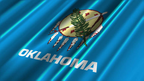 Oklahoma Flag Loop 02 Stock Video Footage