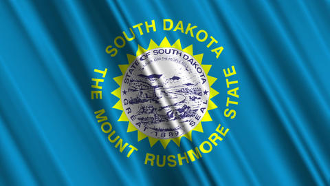 South Dakota Flag Loop 01 Stock Video Footage