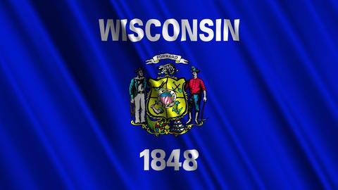 Wisconsin Flag Loop 01 Stock Video Footage
