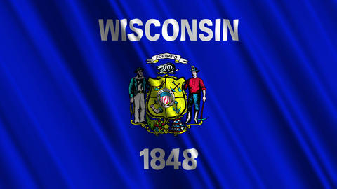 Wisconsin Flag Loop 01 Stock Video Footage