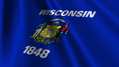 Wisconsin Flag Loop 03 Stock Video Footage