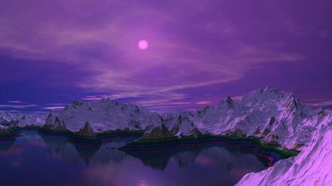 Mountain lake. A moonlight night Stock Video Footage