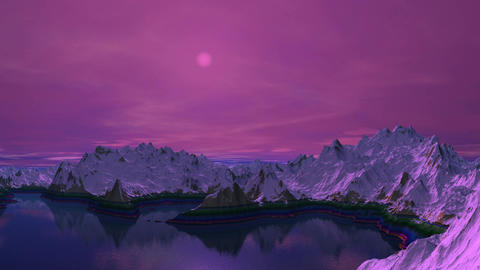 Mountain lake. A moonlight night Animation