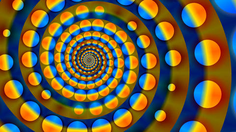 Full-spheres rotate on a spiral Animation