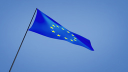 euro flag low angle Stock Video Footage