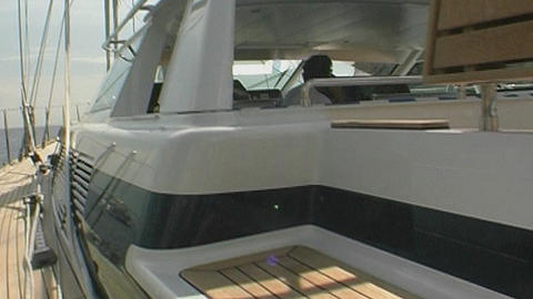 Sailing yacht - steadycam Stock Video Footage