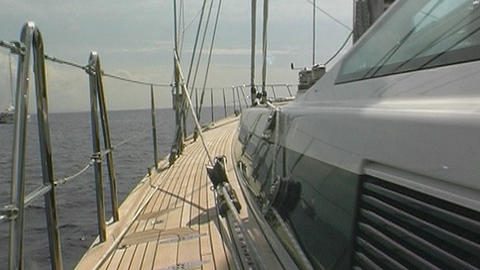 Sailing yacht - steadycam Stock Video Footage