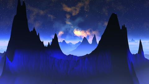 Nebula against a fantastic landscape Stock Video Footage
