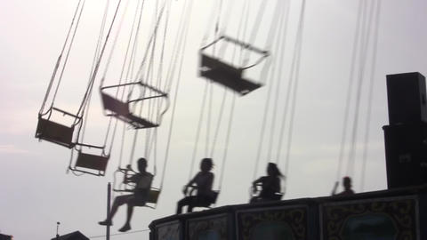Rotating carousel in an amusement park 10 Footage