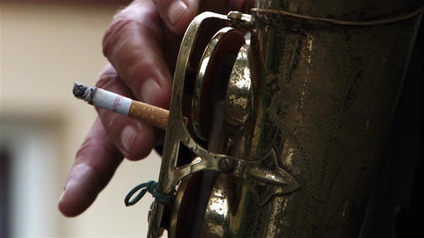 Playing Saxophone With A Cigarette 246 stock footage