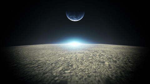 Moon Surface And Planet Earth stock footage