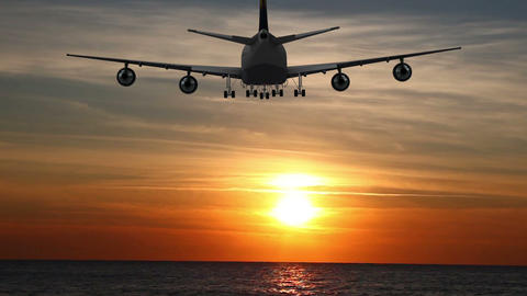 Passenger Plane Flies Over The Sea At Night stock footage